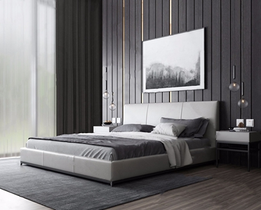 现代床具组合 现代双人床 双人床 床头柜 台灯 装饰画