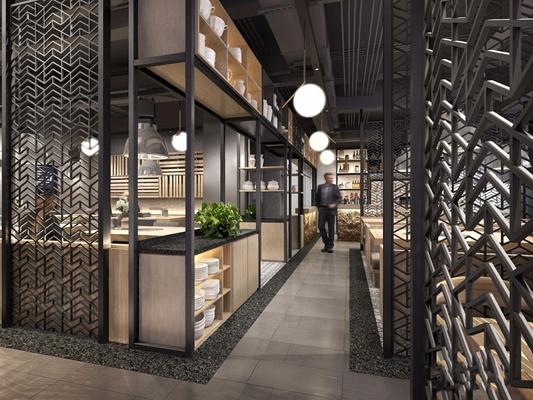 工业风灰色调豪华烤肉店餐厅 工业风餐饮空间 取餐台 隔断 吊灯 座椅