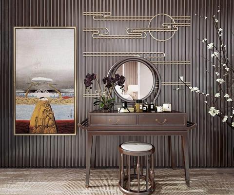 新中式梳妆台 新中式梳妆台 凳子 背景墙造型 花艺 挂画 地毯 化妆品 摆件