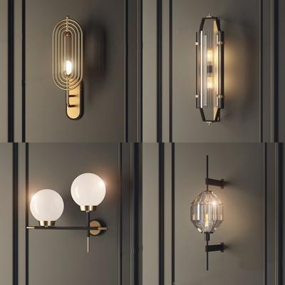 现代简欧中式水晶壁灯组合 现代壁灯 球形壁灯 玻璃壁灯 金属壁灯 水晶壁灯 客厅壁灯 餐厅壁灯 卧室壁灯