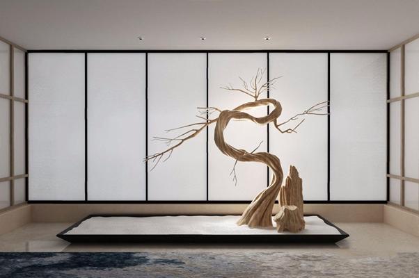 [假日酒店] 上上国际设计 自然朴质的诗意栖居 新中式干枝 根雕 盆景 地毯 上上国际设计