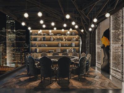 工业风餐厅包房3d模型