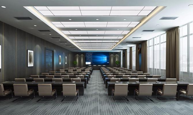 现代会议室 现代会议室 会议桌 办公椅 演讲台 连体桌子