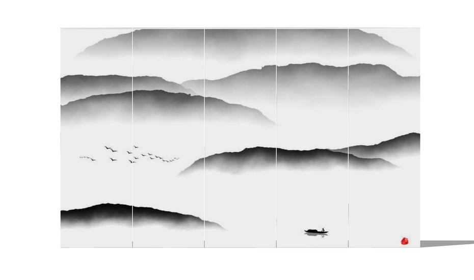 中式装饰画墙饰SU模型
