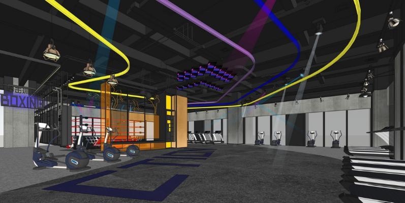 现代工业风格健身房SU模型