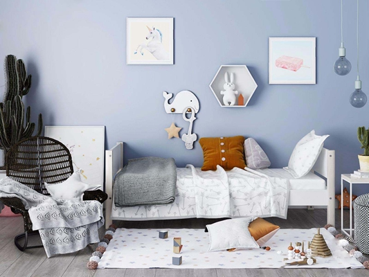 北欧儿童床 北欧儿童床 床品 墙饰 吊灯 植物 北欧单椅 玩具 垫子
