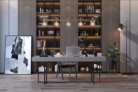 现代书桌椅子书柜组合 现代书桌椅 壁柜 挂画 吊灯 台灯 落地灯 饰品摆件 绿植