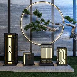 新中式户外灯组合 新中式户外灯 草坪灯 松柏