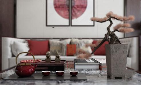 新中式陈设饰品摆件 新中式摆件 盆景 茶具 书籍 托盘