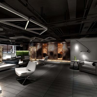 工业风理发店 等后区 沙发 茶几 接待台 吊顶 隔断