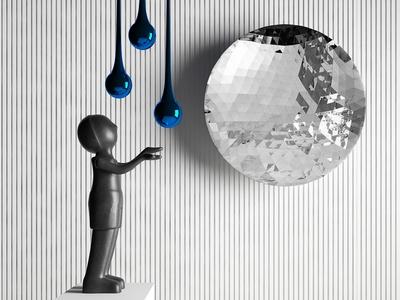 现代小孩艺术雕塑3d模型