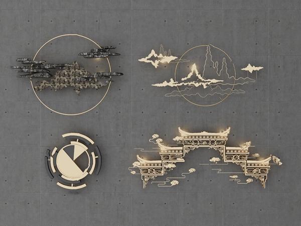 新中式金属墙饰挂件3d模型