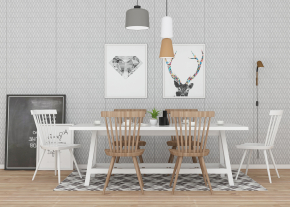 北欧实木餐桌椅装饰画餐具摆件组合3D模型