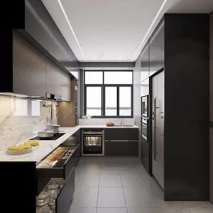 现代厨房 现代厨房 橱柜 操作台 双开门冰箱 烤箱 锅碗 厨具