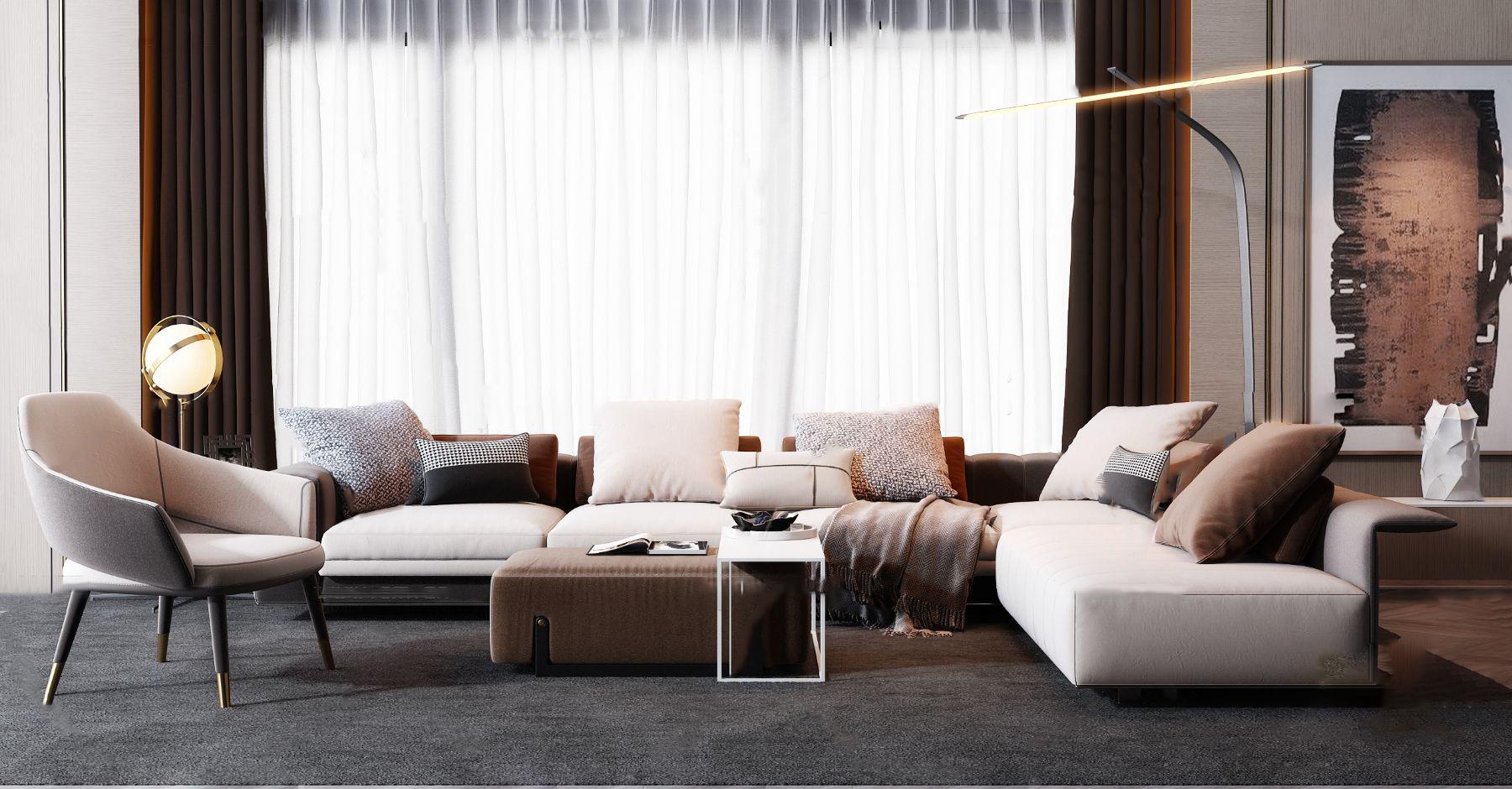 现代布艺转角沙发组合3d模型