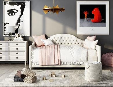 美式单人床 美式单人床 边柜 吊灯 挂画 懒人沙发