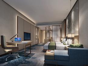 现代酒店客房双人间3D模型