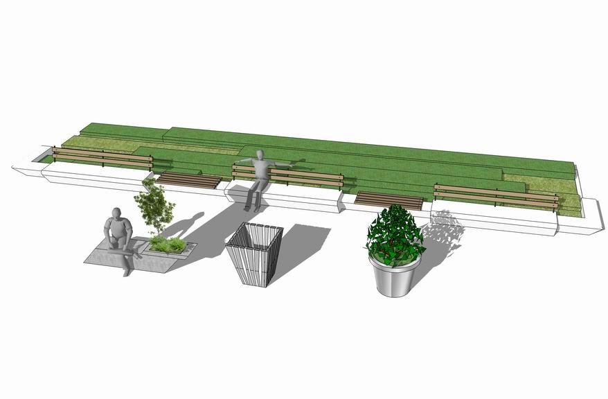 现代花钵花箱树池组合SU模型