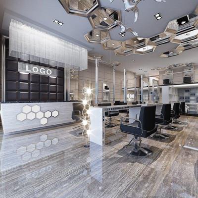 现代理发店 理发店桌椅 镜子 落地灯 工程灯 收银台
