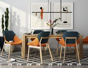 北欧实木餐桌椅吊灯装饰画摆件3D模型