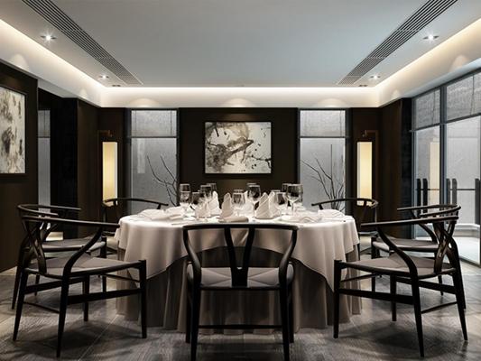 現代新中式餐廳餐桌椅組合 新中式餐桌椅 餐具 酒杯 落地燈 掛畫