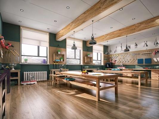 现代木工房 现代学校 木工房 桌子 凳子 单头吊灯 工具