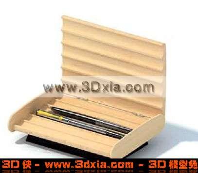 高档的木质笔盒3D模型
