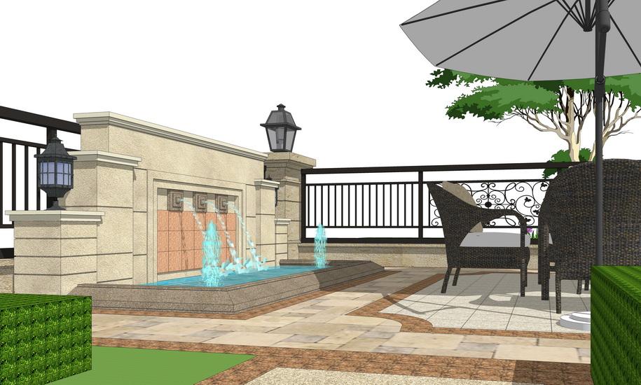 歐式庭院景觀SU模型