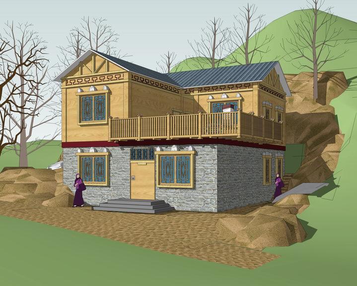 羌族住宅SU模型