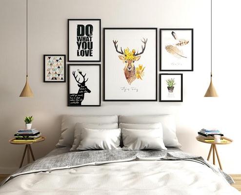 现代北欧卧室双人床挂画组合3D模型【ID:76866704】