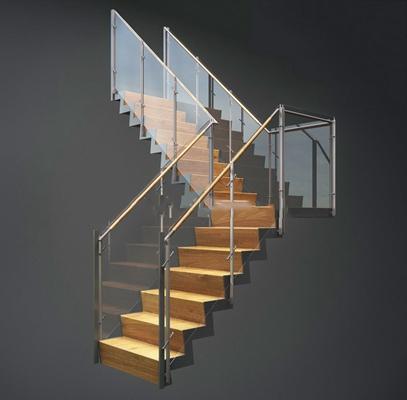 loft现代楼梯loft现代楼梯 玻璃护栏