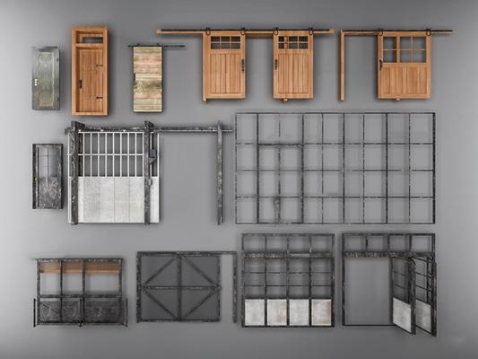 工业风铁门仓库门组合3D模型