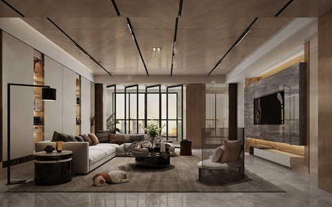 现代客厅 现代客厅 多人沙发 圆茶几 单人沙发 圆几 落地灯 转角沙发 狗 隔断