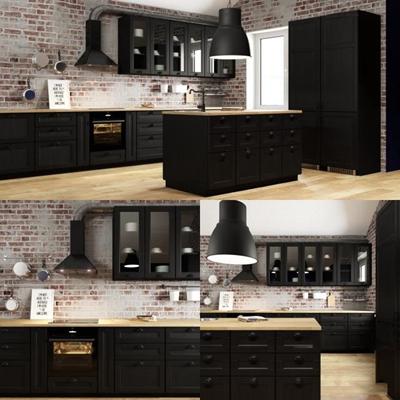 工业风厨房橱柜餐具组合3D模型