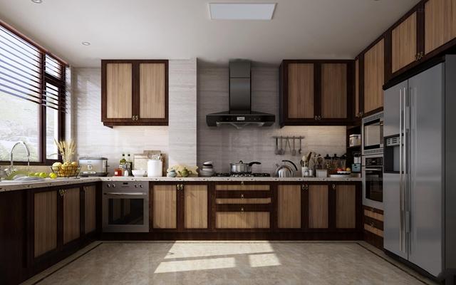 新中式厨房橱柜餐具组合3D模型
