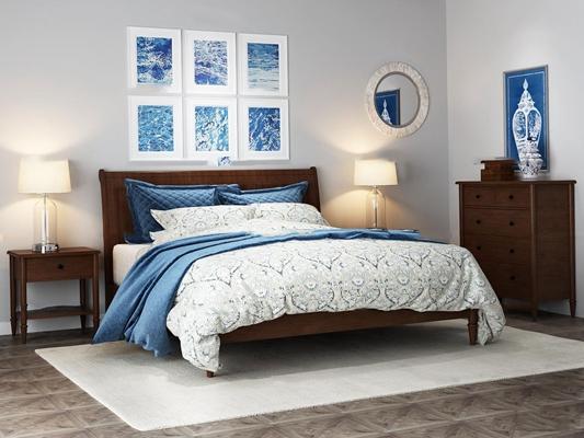 美式实木双人床床头柜台灯边柜组合3D模型