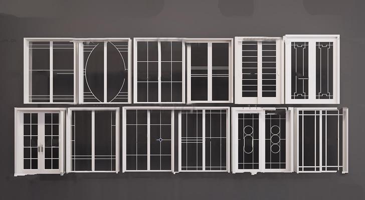 现代实木推拉门组合3D模型