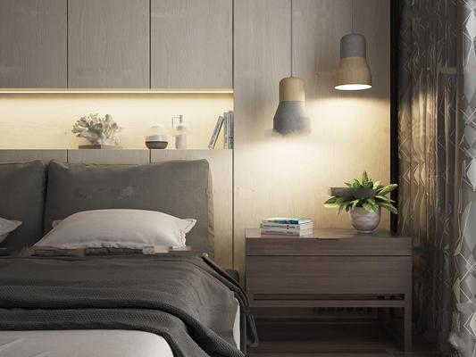 北欧床具床头柜组合3D模型