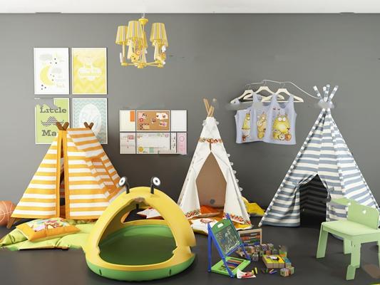 现代儿童帐篷床组合3D模型