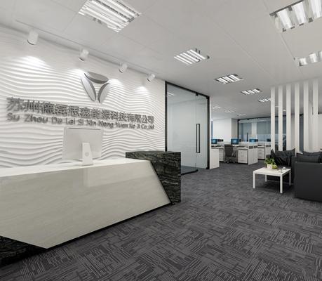 现代敞开式办公室前台总经理室3D模型