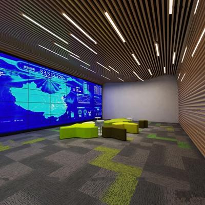 现代办公室前台展厅3D模型