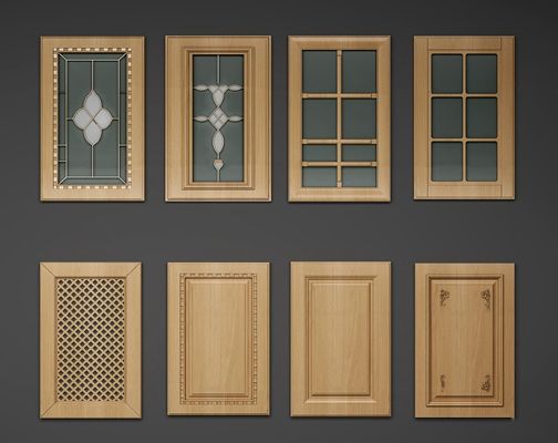 简欧实木厨柜门板组合3D模型