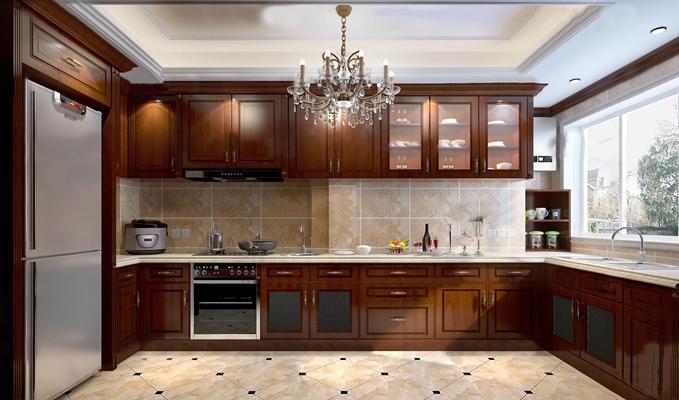 美式厨房厨柜餐具3D模型