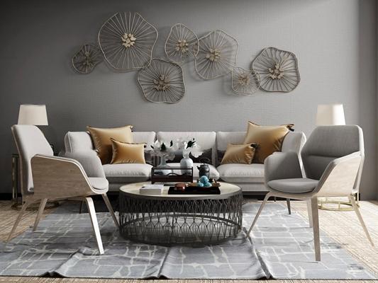 北欧布艺休闲沙发圆几茶几台灯挂件摆件3D模型【ID:77101776】