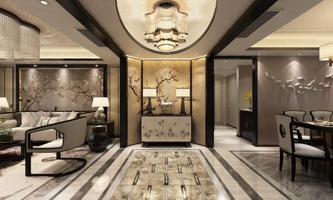 新中式客厅餐厅端景3D模型