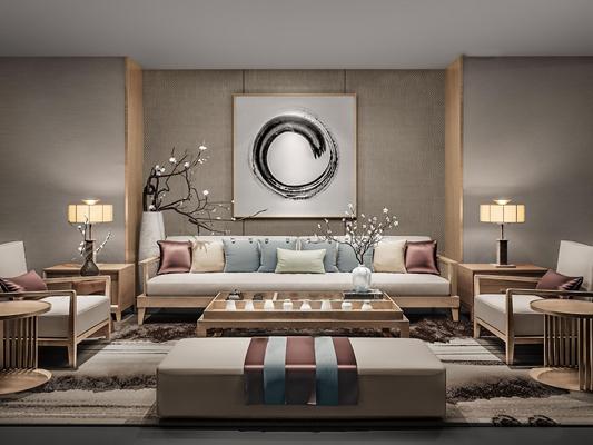 新中式休闲实木布艺沙发茶几装饰组合3D模型