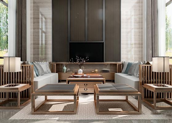 新中式會所客廳沙發茶幾組合3D模型下載
