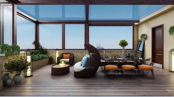 现代露台阳台休闲沙发椅组合3D模型