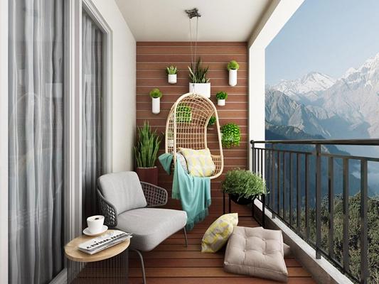 现代简约阳台花园3D模型