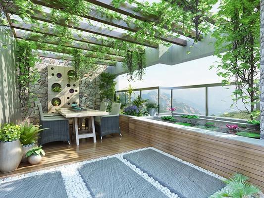 现代阳台花园花架荷花池植物摆件3D模型